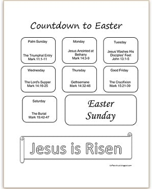 Free Printable Countdown to Easter | This countdown is similar to an advent calendar but only it's for Easter. It spans for Palm Sunday to Easter Sunday and give you easy to read passages that are perfect to get your kids' & your hearts ready for Easter. Click the link to print your copy. Available in color and black & white.