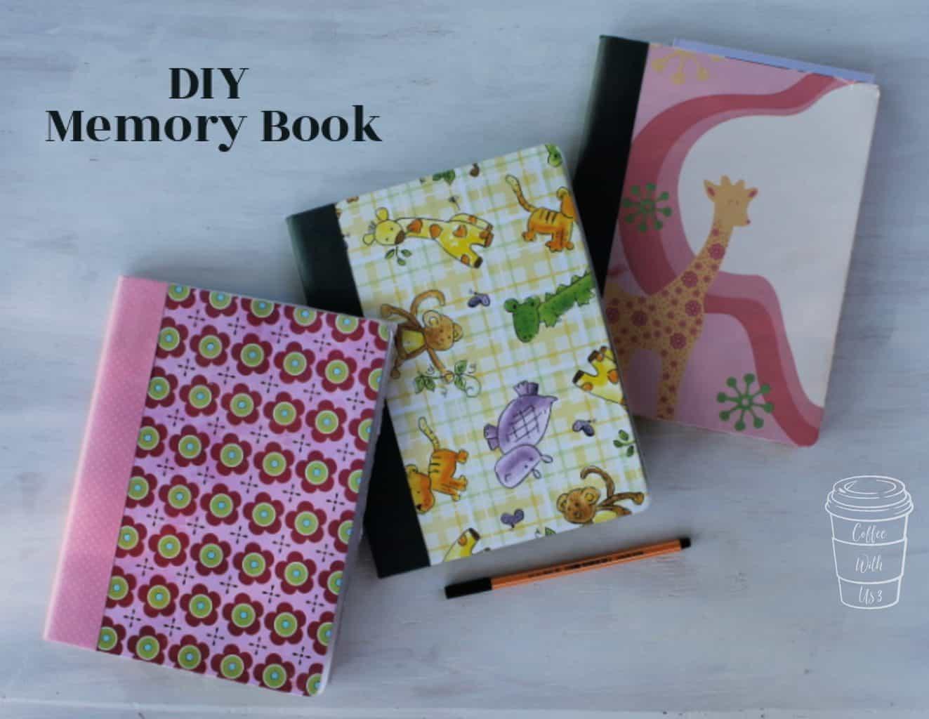 A stack of 3 DIY Memory Book keepsakes