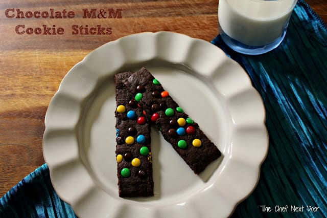 31 Cookie Recipes – Chocolate M&M Cookie Sticks