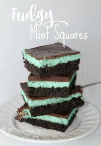 Fudgy Mint Squares. Like brownies with a minty cheesecake layer, topped with a chocolate ganache.