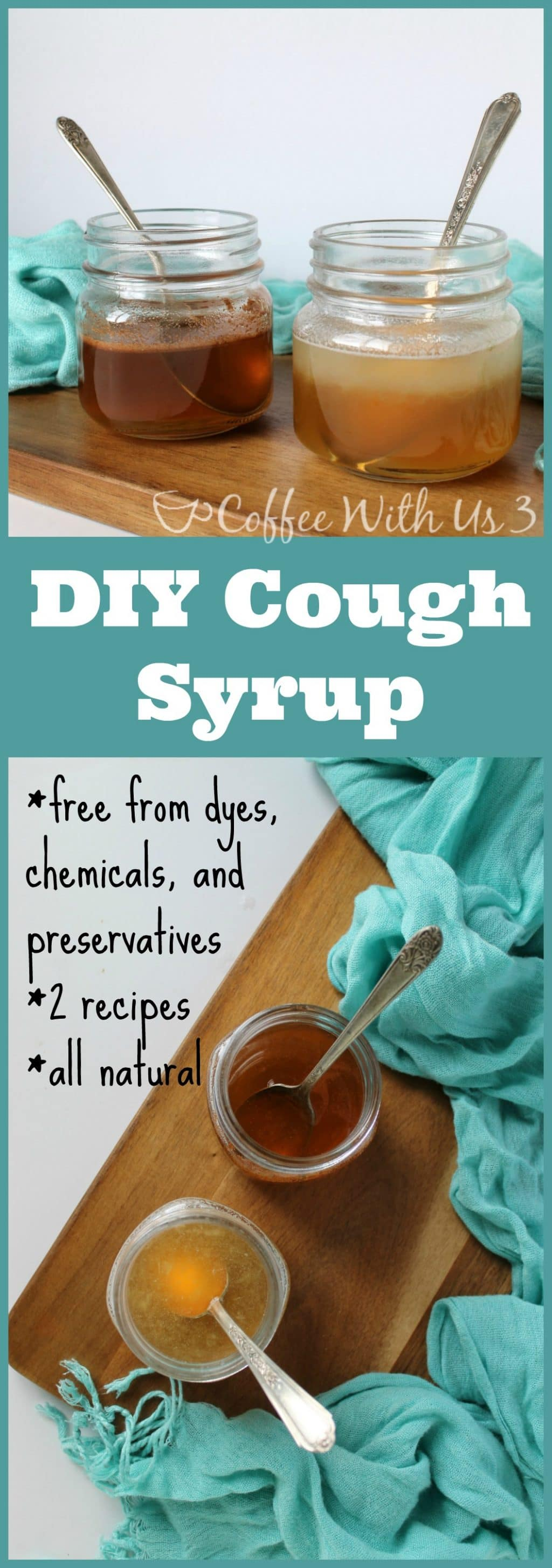 DIY Cough Syrup-- Did you know you can make your own cough syrup? How cool is that?!? No more dyes, synthetic ingredients, just simple, real ingredients!