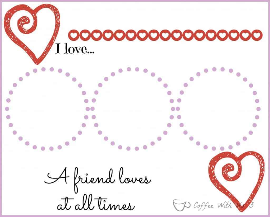 valentines placemats for kids with printable coffee with us 3