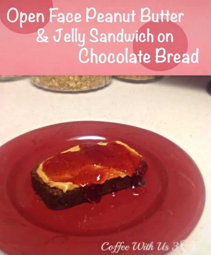 Open Face Peanut Butter & Jelly Sandwich on Chocolate Bread