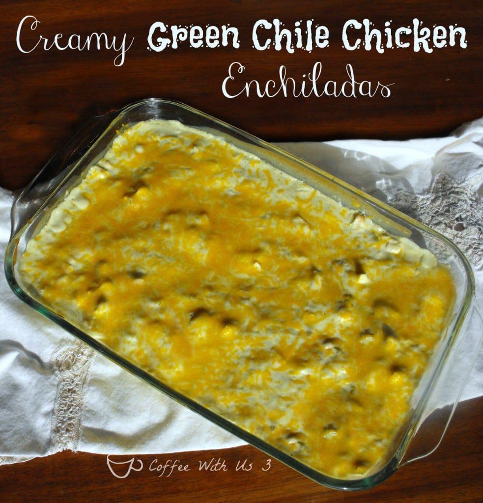 Creamy Green Chile Chicken Enchiladas- Get dinner on the table in 30 minutes! #enchiladas #chicken