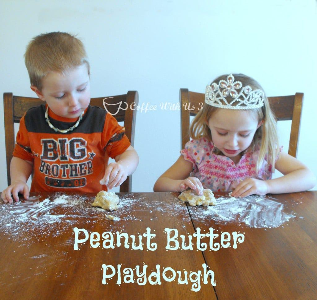 Peanut Butter Playdough is a fun and edible kids' activity! #preschool