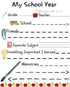 My school year printable - Remember their school year/memories forever