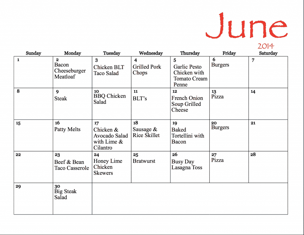 June Meal Plan