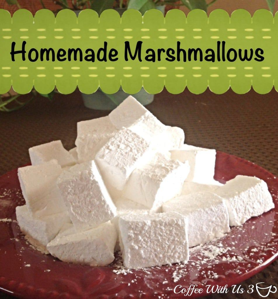 Homemade Marshmallows piled on a red plate.