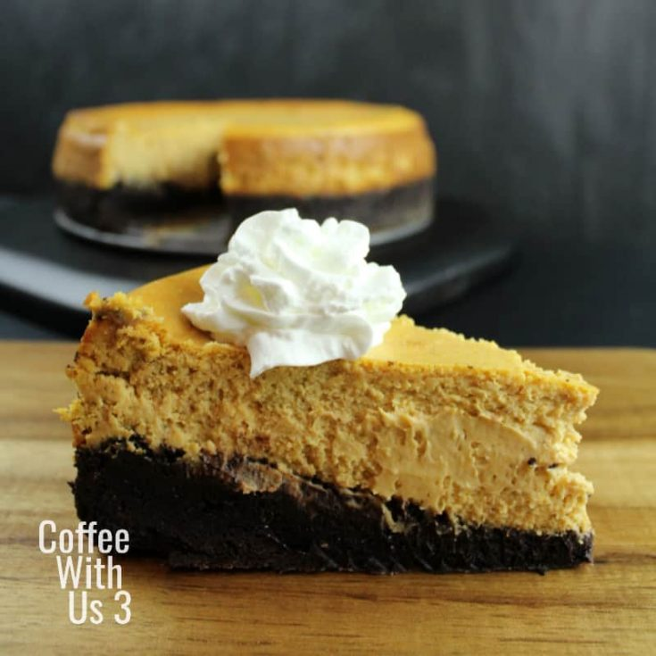 Dark Chocolate Brownie Pumpkin Cheesecake