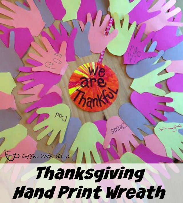 "Looking for something other than the ""Thanksgiving Tree"" to do with your kids this November?  Try this fun. colorful hand print ""We are Thankful"" Wreath."