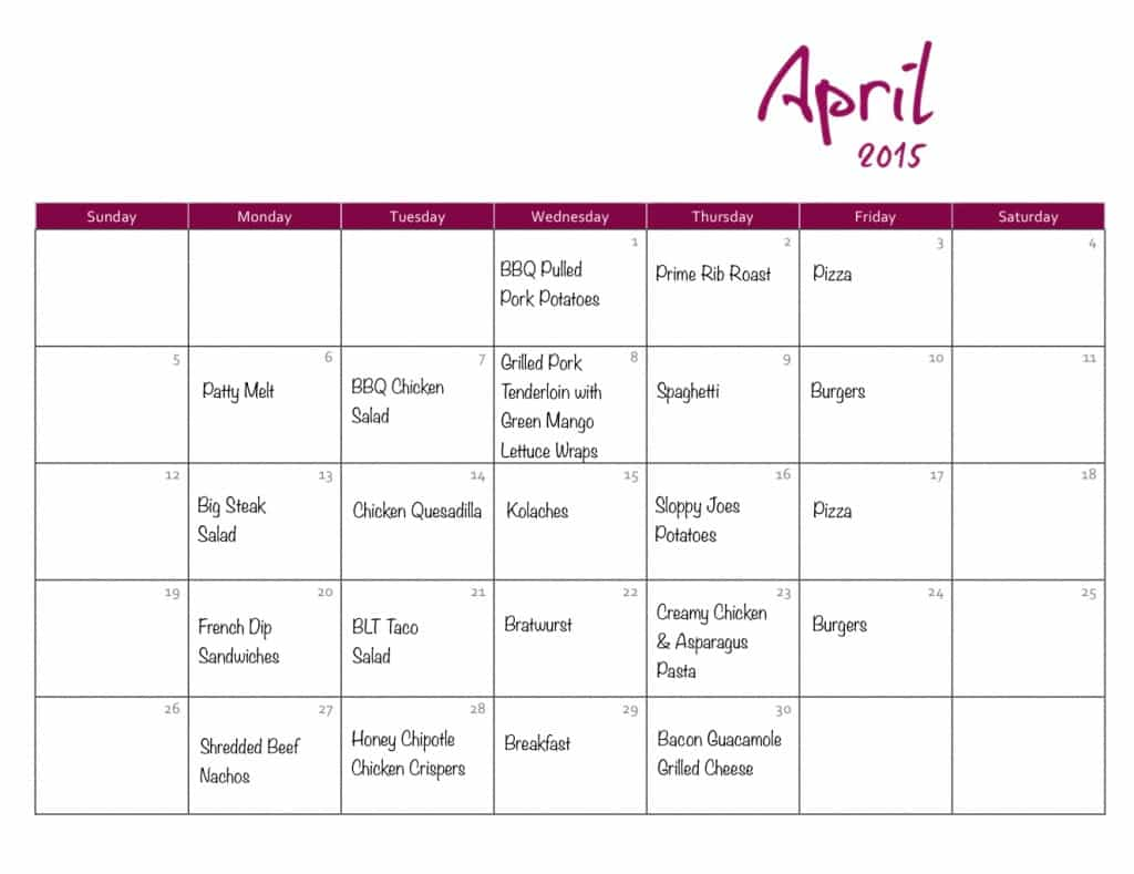 April Meal Plan - Coffee With Us 3