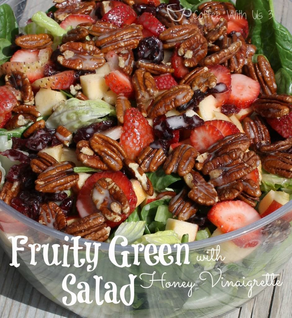 Fruity Green Salad with Honey Vinaigrette full of strawberries, cranberries, apples, pecans