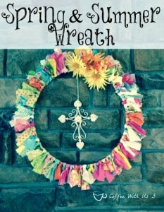 Fun & Colorful Spring & Summer Wreath made with scraps of fabric.  It's perfect to leave up from March to September!!