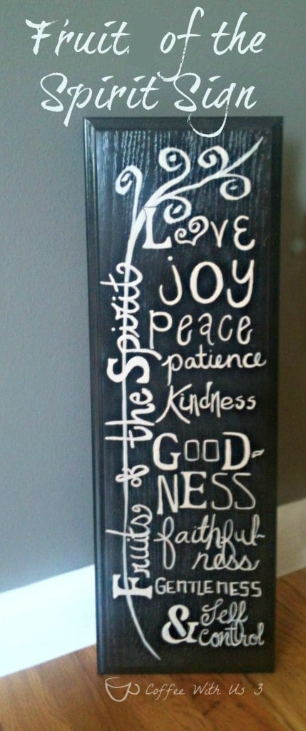 Fruit of the Spirit sign created from an old cabinet drawer