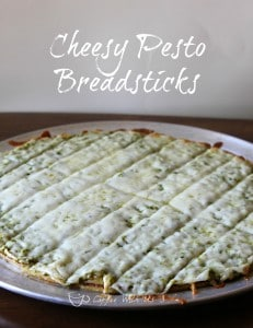 Cheesy pesto breadsticks your family will love! These are a copycat recipe for the Pesto Poles offered at MacKenzie River Pizza.