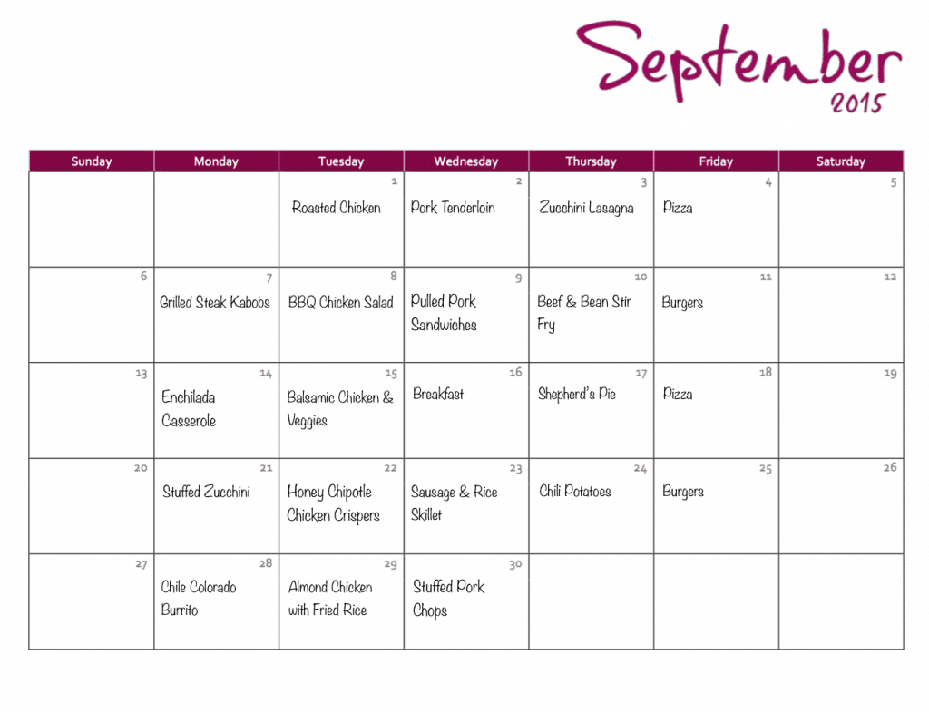FREE Monthly Meal Plan 3.9