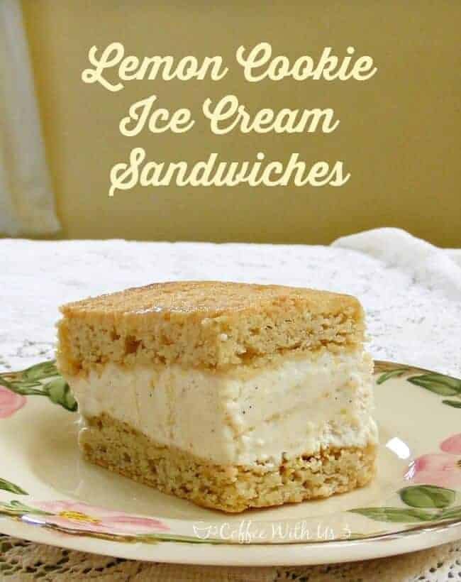 Lemon Cookie Ice Cream Sandwiches made with Lemon Curd and Lemon Cookies