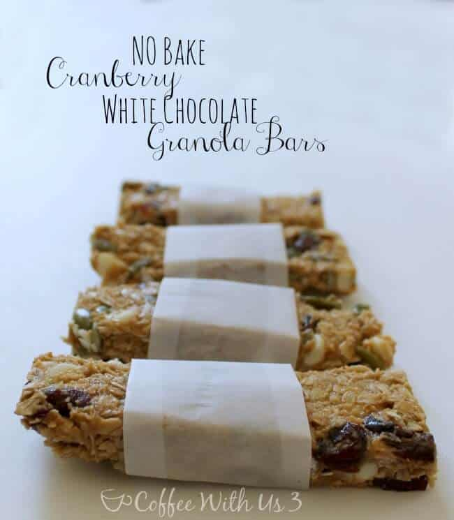 No Bake Cranberry White Chocolate Granola Bars