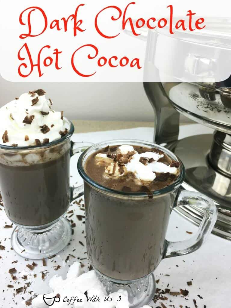 Dark Chocolate Hot Cocoa in mugs.