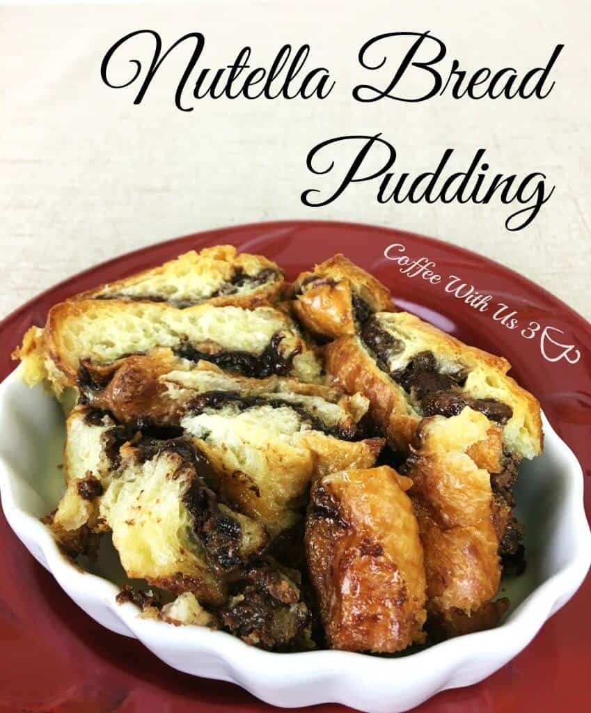 A serving of Nutella Bread Pudding on a plate.