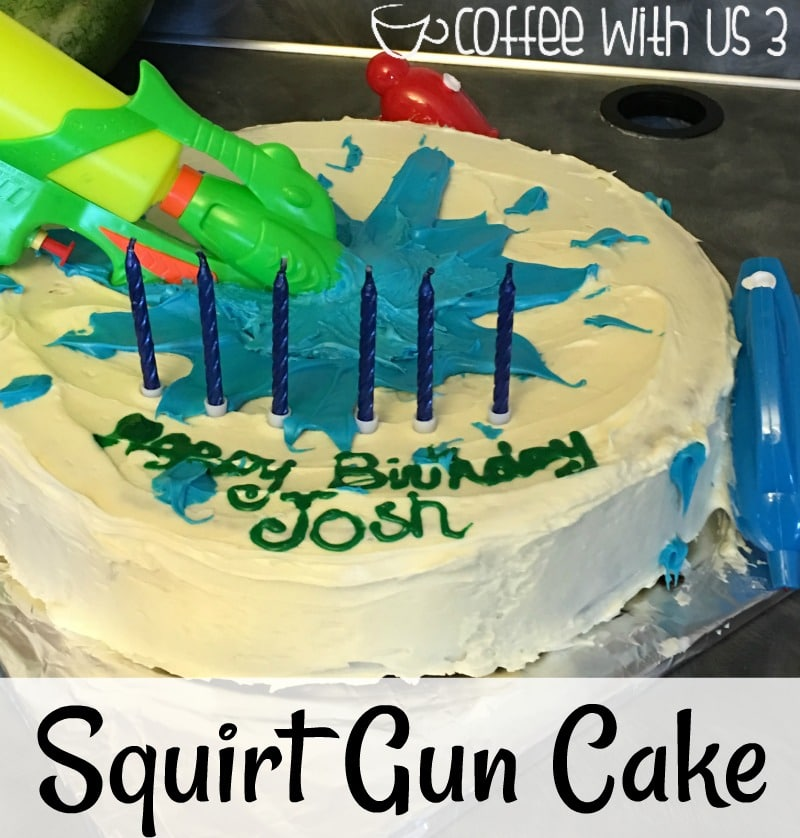 Super easy & super cute!! This squirt gun cake is perfect for any water lover birthday!