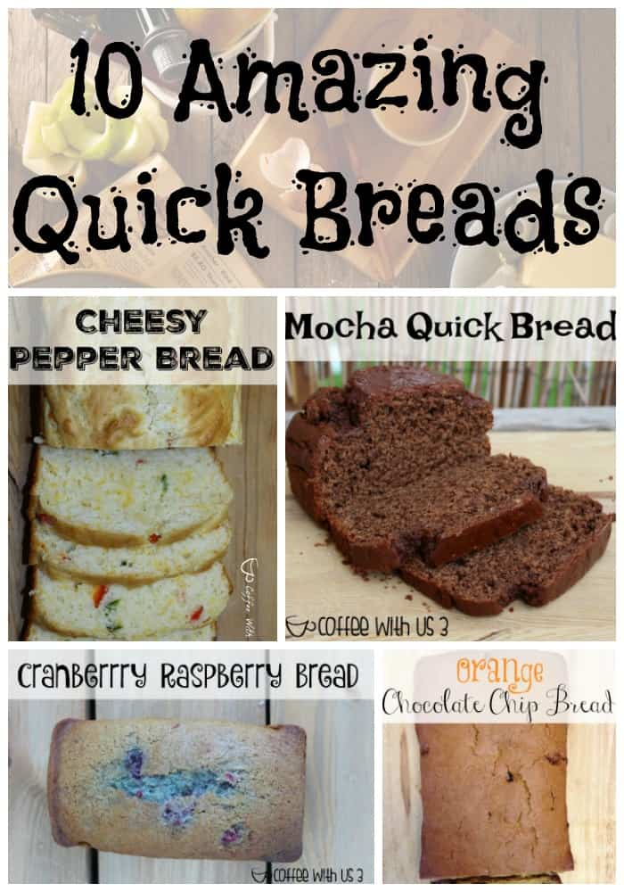 10 Amazing quick bread recipes that you will love to bake over & over again. Includes fruit ones, chocolate, coffee, & even a cheesy pepper one.