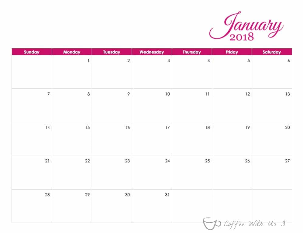 Free Printable 2018 Calendar | Are you looking for a beautiful calendar to print to plan meals, family activities, blog posts, or just to keep track of important events or birthdays? This calendar can meet all of those needs and many more. Click to print your free copy!