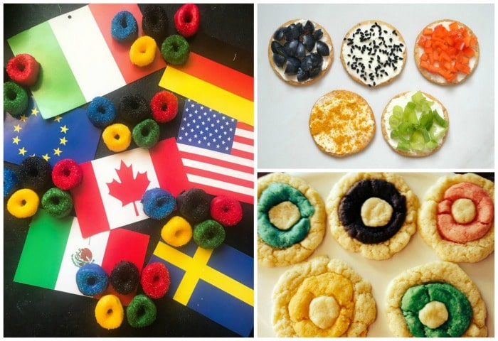 Olympic Ring marshmallows, crackers, and cookies, and more fun festive recipes for the Olympics