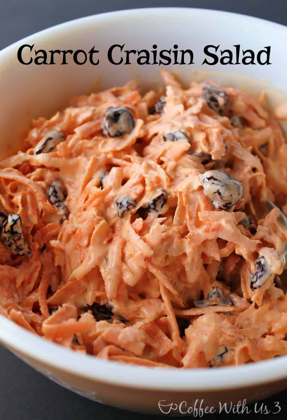 It only takes 3 ingredients and 5 minutes to make this delicious Carrot Craisin Salad!