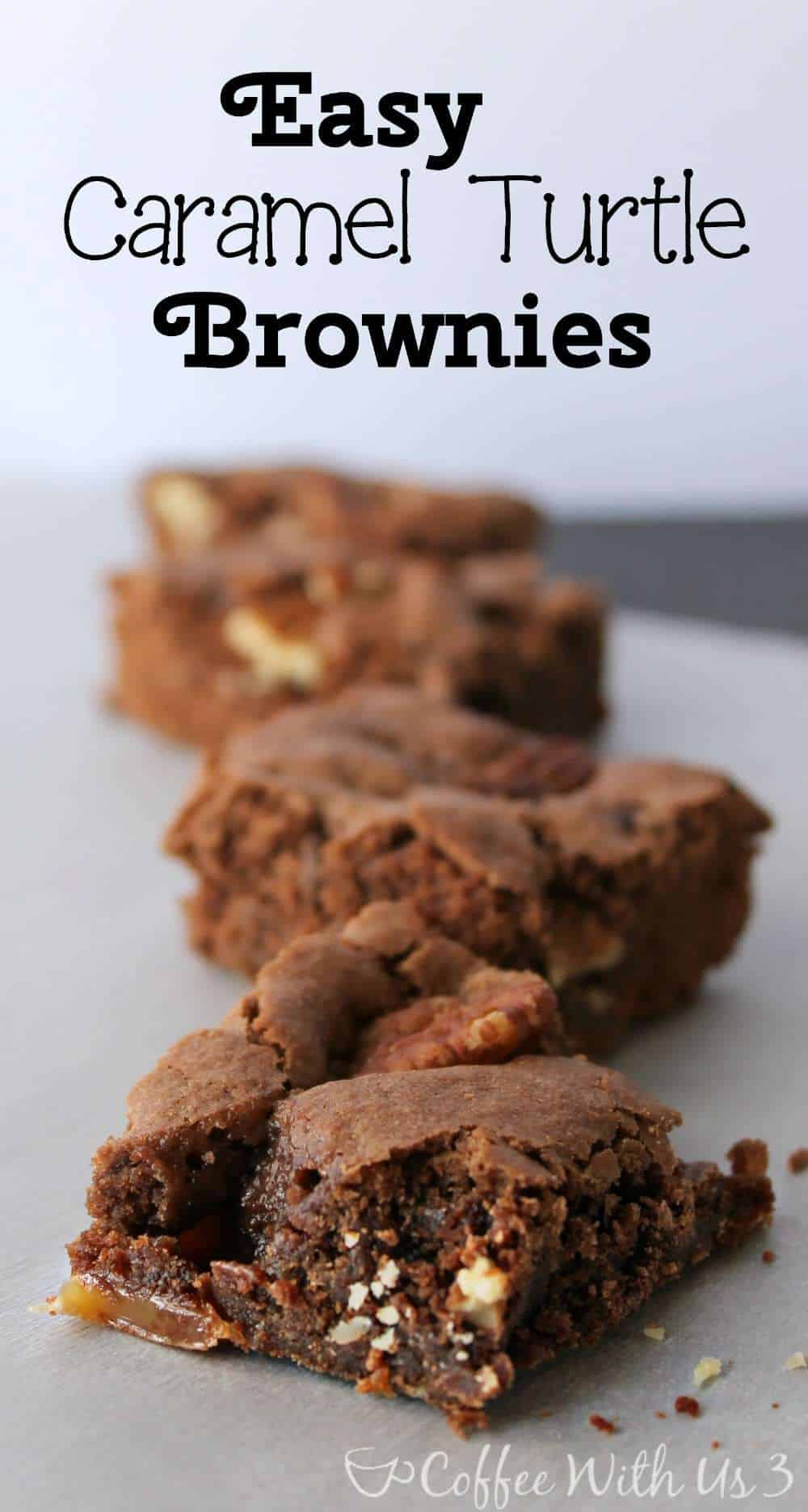 Easy Caramel Turtle Brownies | Coffee With Us 3 - The easiest from-scratch brownie recipe around! Gooey caramel and crunchy pecans!