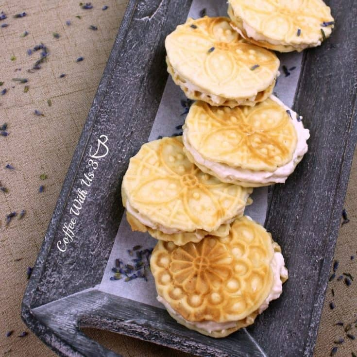 Lemon Pizzelle with Lavender Cheesecake