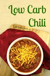Low Cab Chili topped with shredded cheese with napkin next to bowl.