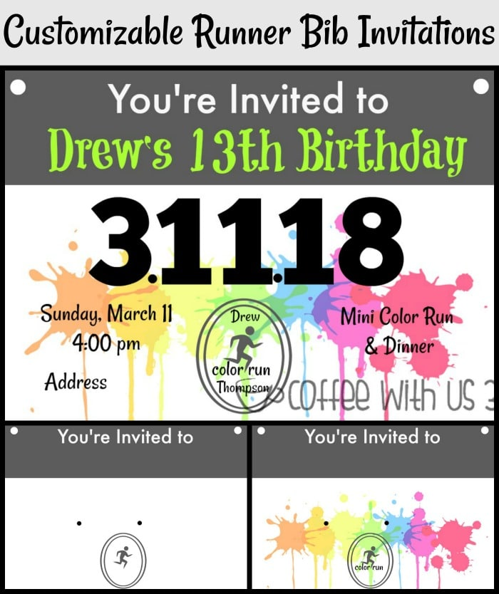 Are you looking for customizable runner bib Invitations for any running themed party?  Edit them in your favorite photo editing app or program to meet the needs of your event.  Perfect for a color run, or a track or cross country themed birthday or other event. Could even be used to promote a fun run. Two different options. Pin to save for your next runner themed event!