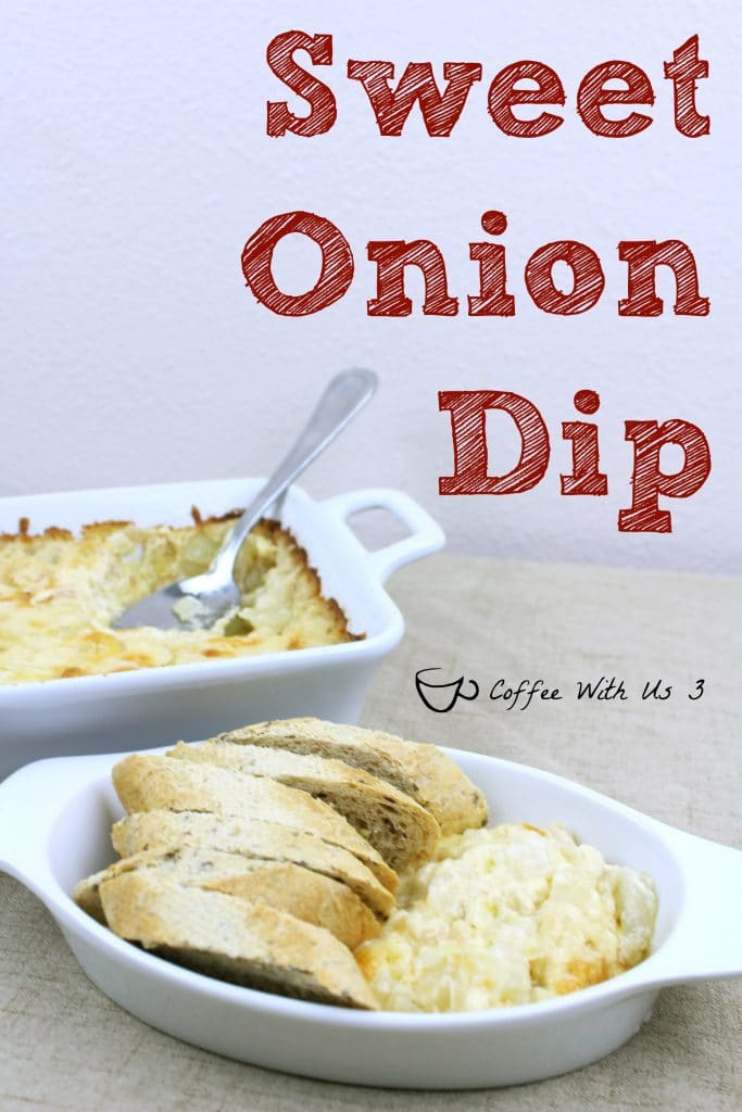 Sweet Onion Dip is perfect for anytime you need an appetizer. The Asiago cheese and sweet onion give it great flavor. It is easily double or tripled for sharing with large groups.