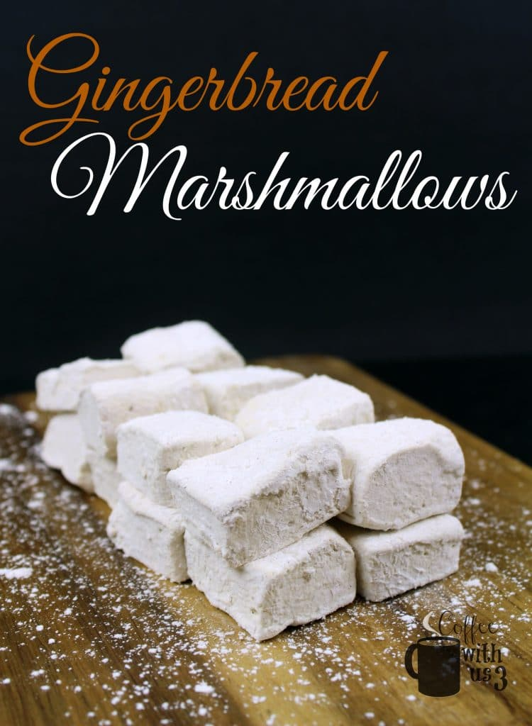Gingerbread marshmallows stacked on a charcuterie board.