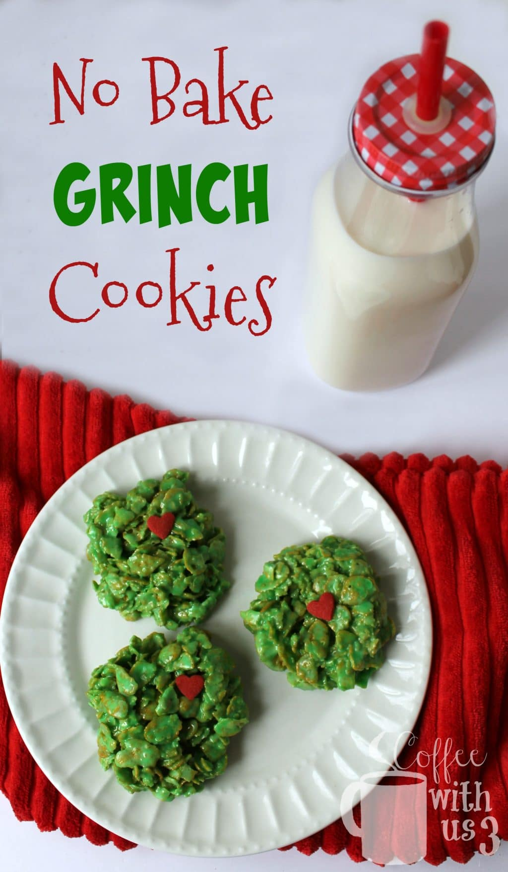 Quick and easy to make, these No Bake Grinch Cookies will be a huge hit at your Christmas gatherings!