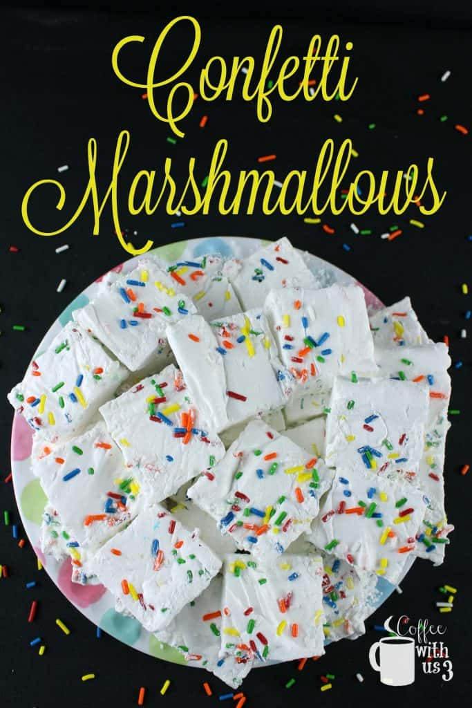 Marshmallows with colorful sprinkles.