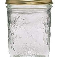 Ball 40801 Golden Harvest Mason Regular Mouth 8oz Jelly Jar 12PK 'Vintage Fruit Design', RM 8 Oz Clear