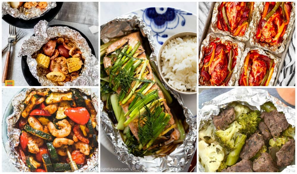 Foil packet shrimp, salmon, steak, and chicken