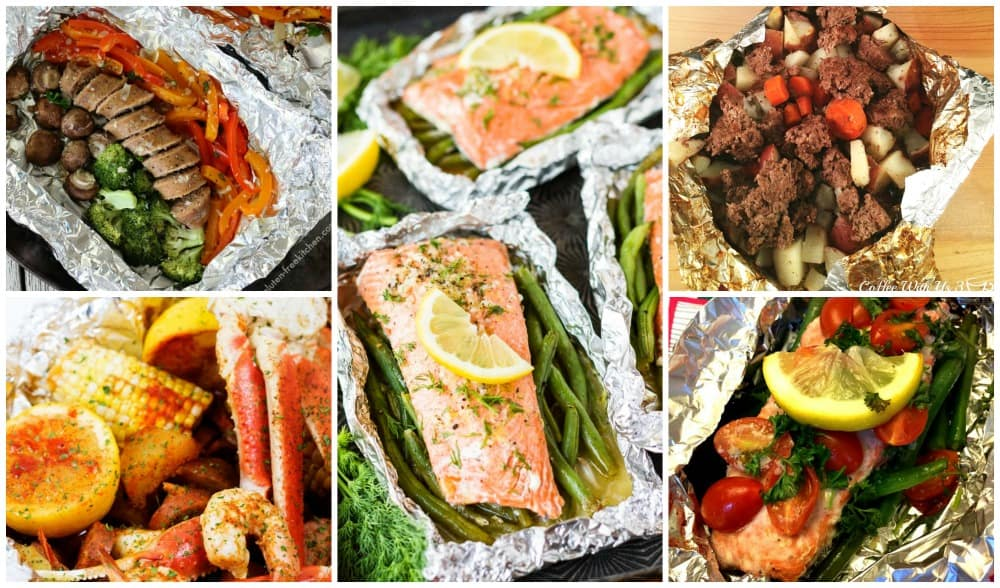 Foil packet crab, salmon, sausage, and hobo pack