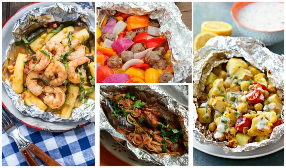 Foil packet shrimp, sausage, linguine, and curried cauliflower