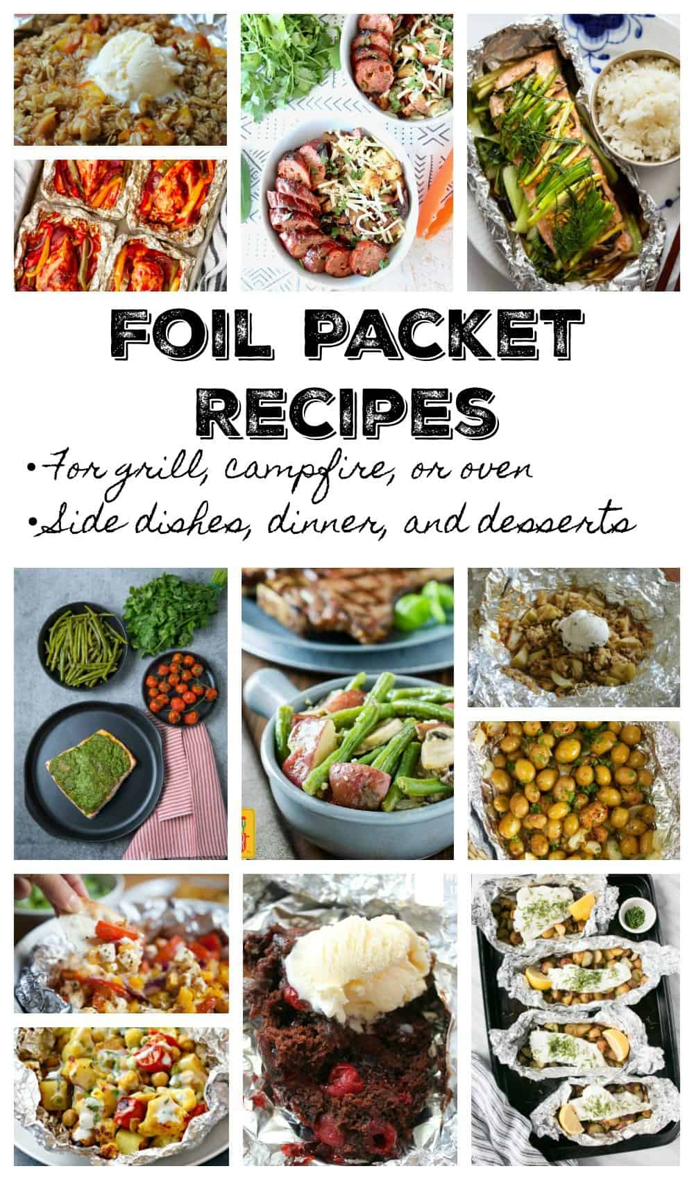 Collage of Foil Packet Recipes, including desserts, dinners, and side dishes