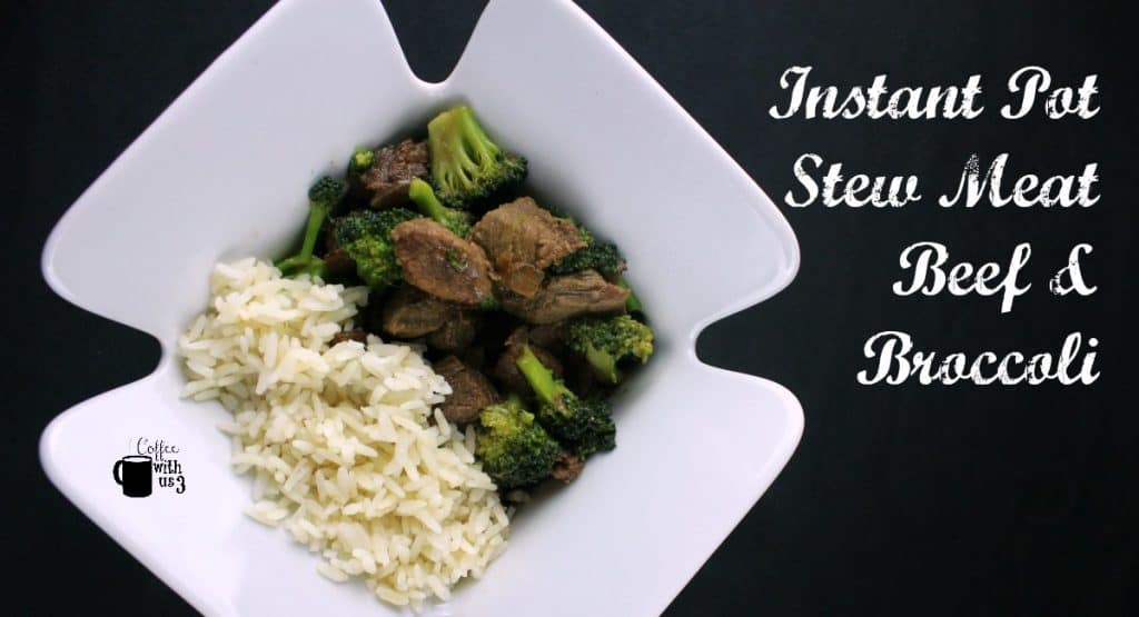 Overhead view of beef and broccoli with rice in a dish.