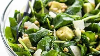 Baby Kale Avocado Salad Recipe w/ Lemon Garlic Vinaigrette & Parmesan
