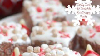 Candy Cane Hot Chocolate Rice Krispie Treats (#BloggersforSandyHook)