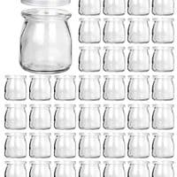 Glass Jars, KAMOTA 40 PACK 6oz Clear Yogurt Jars With PE Lids,
