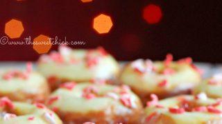 Mini Peppermint Eggnog Donuts