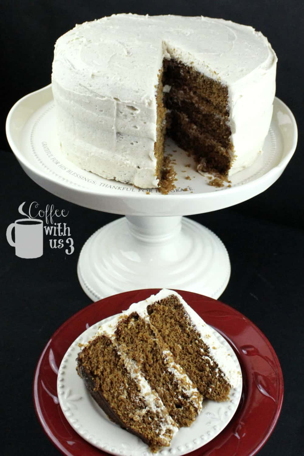 Gingerbread cake with chai buttercream on stand with slice set in front.