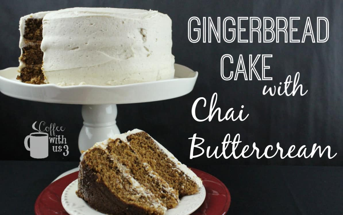 Gingerbread cake with Chai buttercream with slice cut and set in front.