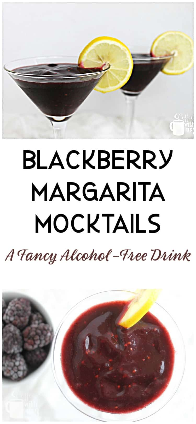 These Blackberry Margarita Mocktails are a sweet frozen, blended mocktail, made with real blackberries. A family-friendly, alcohol-free fancy drink option.